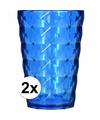 2 drink glazen van helder plastic blauw 350 ML
