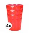 4 drink glazen van helder plastic rood 350 ML