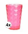 4 drink glazen van helder plastic roze 350 ML